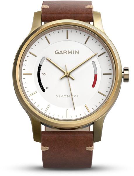 Garmin vivomove mit goldenem Gehäuse und Premium Lederarmband
