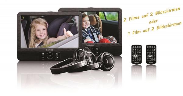 Lenco Tragbarer KFZ Auto DVD Player DVP-938 2x 9 Zoll Bildschirm Kopfhörer