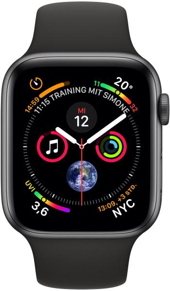 Apple Watch 4 spacegrau Alu 40mm Sportarmband schwarz 4G Smartwatch Pulsuhr GPS