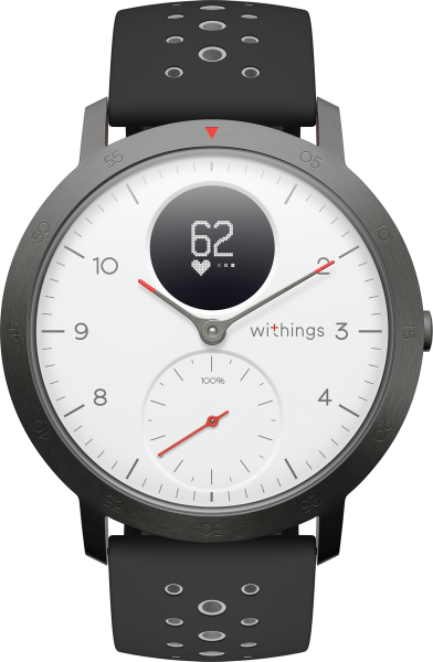 Withings STEEL HR Sport, white/black 239mm Multisport Hybrid Smartwatch Silikon