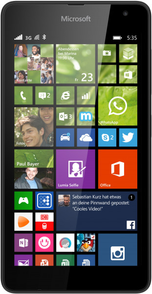 "Microsoft Lumia 535 schwarz 8GB  Windows 5"" Smartphone ohne Simlock 5 Megapixel"