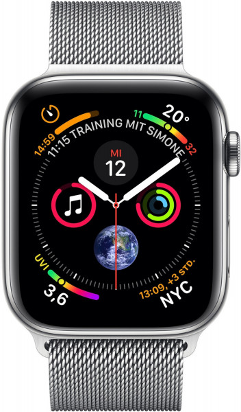 Apple Watch 4 Silber Steel 40mm Milanaise silber 4G iOS Smartwatch GPS Fitness