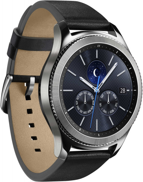 Samsung Gear S3 classic Silber Lederarmband Uhr Smartwatch NFC Fitness Tracker