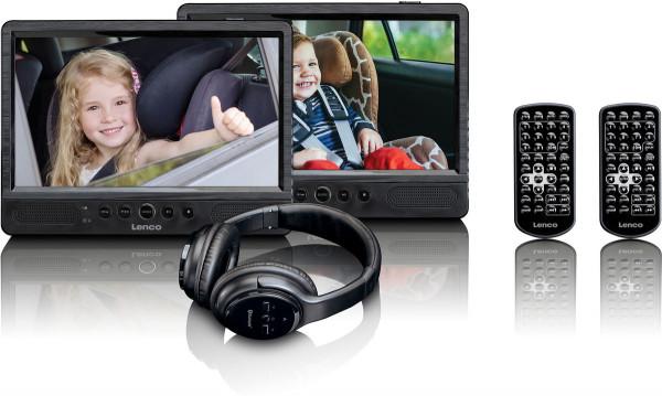 """Lenco DVP-1047 Set 10"""" DVD Player DVB-T USB SD Schwarz Neuwertig"""
