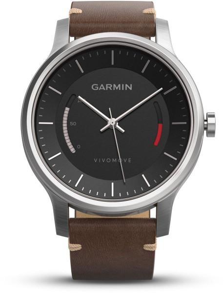 Garmin vivomove mit Edelstahlgehäuse und Premium Lederarmband