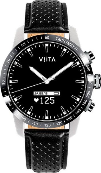 Viita Watch Hybrid HRV Tachymeter silber schwarz Leder