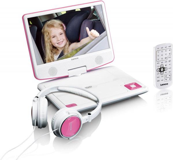 "Lenco DVP-910 9"" DVD-Player USB & KfZ-Halterung Pink"